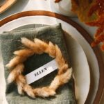 Mini Wreath Place cards DIY on a plate for a special occasion.