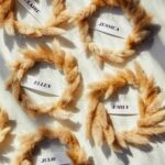 Mini Wreath Place Cards laid out on a surface.