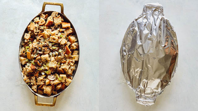 A baking dish with stuffing, and then covered with foil.