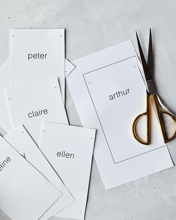 Rosemary Sprig Place Cards trimmed into rectangles.