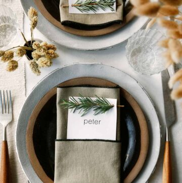 Rosemary Sprig Place Card DIY on a table setting.