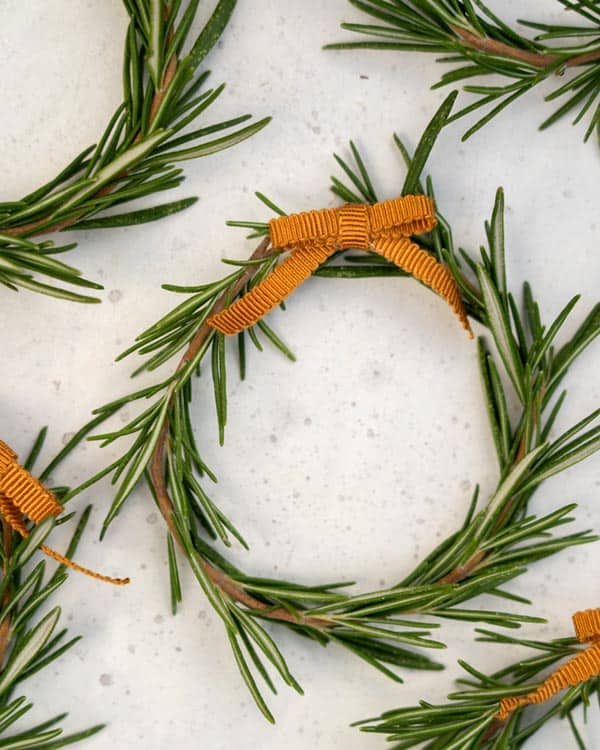 Close up on a single rosemary wreath.