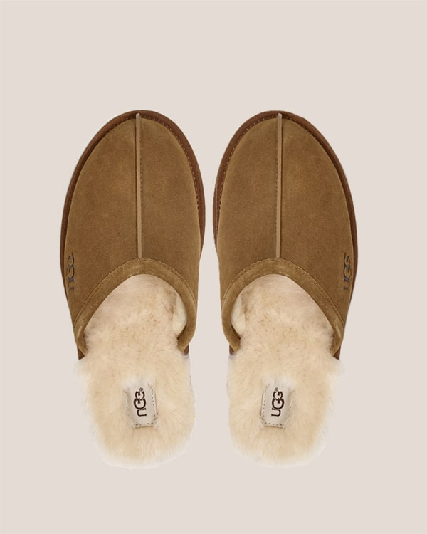 Uhh slippers on a tan background.