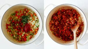 Sauted veg with tomato paste and herbs in a stock pot.