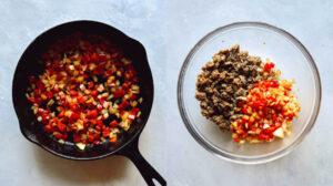 Vegetables sautéd in a cast iron skillet.