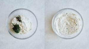 Dry ingredients combined in a glass bowl for dumplings.