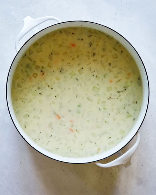 A simple soup in a pot on a kitchen counter.
