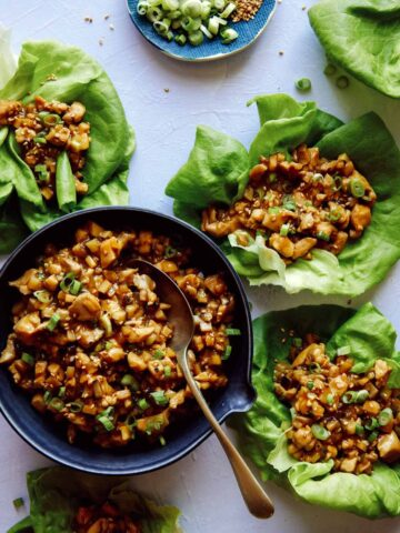 Chicken lettuce wraps with lettuce cups full of the chicken mixture.