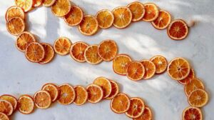 A dehydrated citrus wheel garland on a surface.
