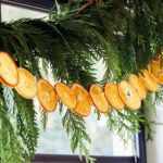 Citrus garland close up strung up in a window.