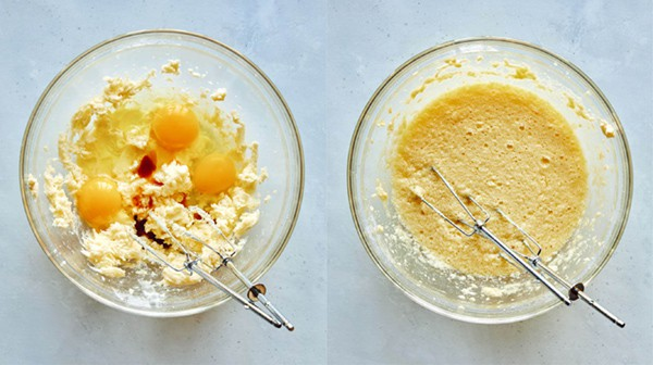 Adding eggs and vanilla to a batter for german cake.