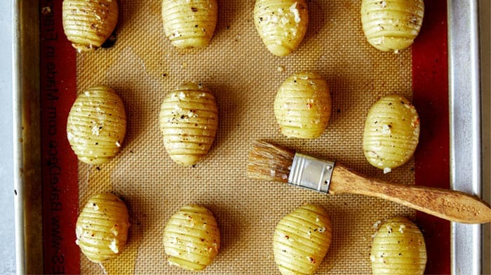 Hasselback potatoes right out of the oven.