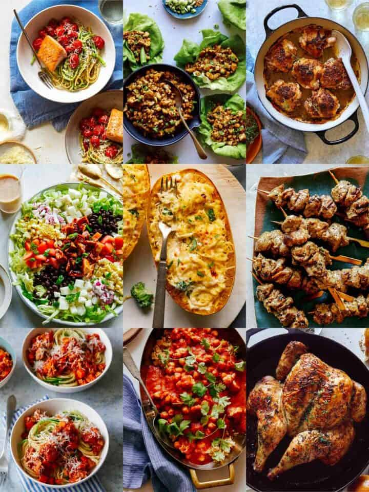 A collage of our best healthy dinner ideas.