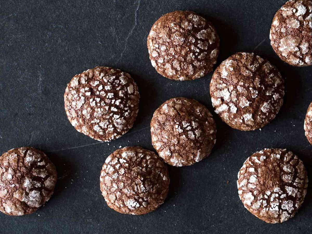 A close up of Mexican chocolate earthquake cookies.