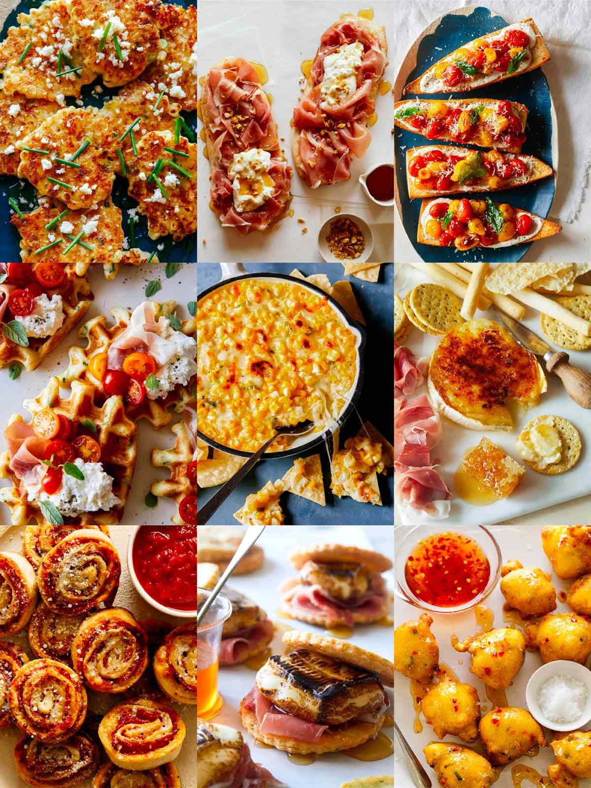 Our best  New years Eve Appetizers recipe in a collage.