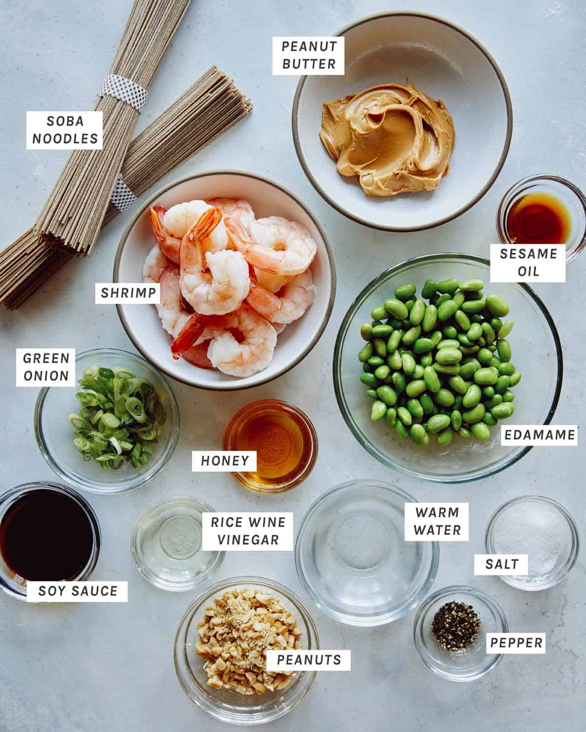 Ingredients to make soba noodles with shrimp all laid out on a counter.