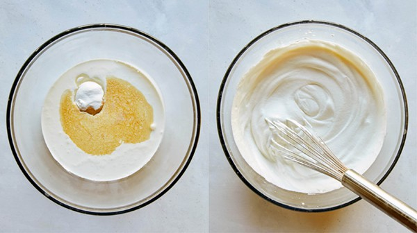 Making whipped cream for sticky toffee pudding.