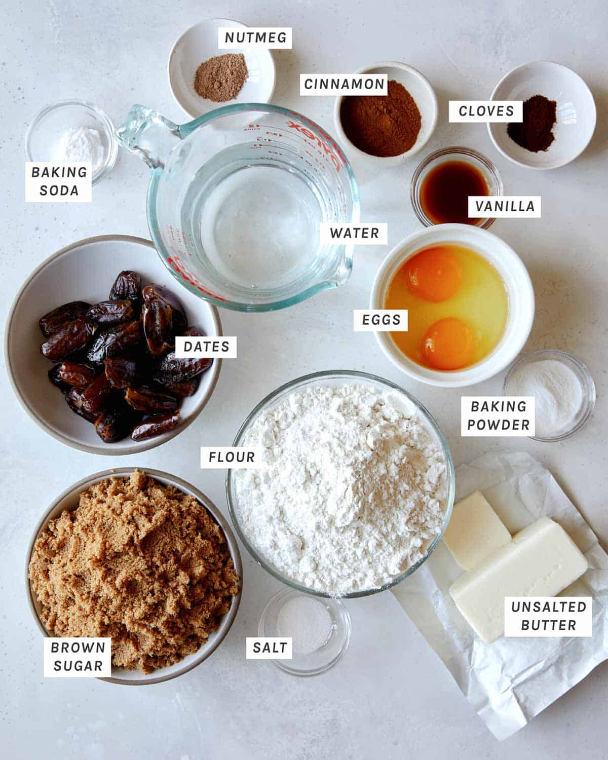 Sticky Toffee pudding ingredients all laid out on a kitchen counter.