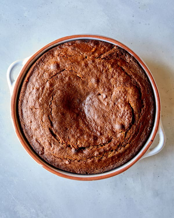 Sticky toffee pudding fresh out of the oven.