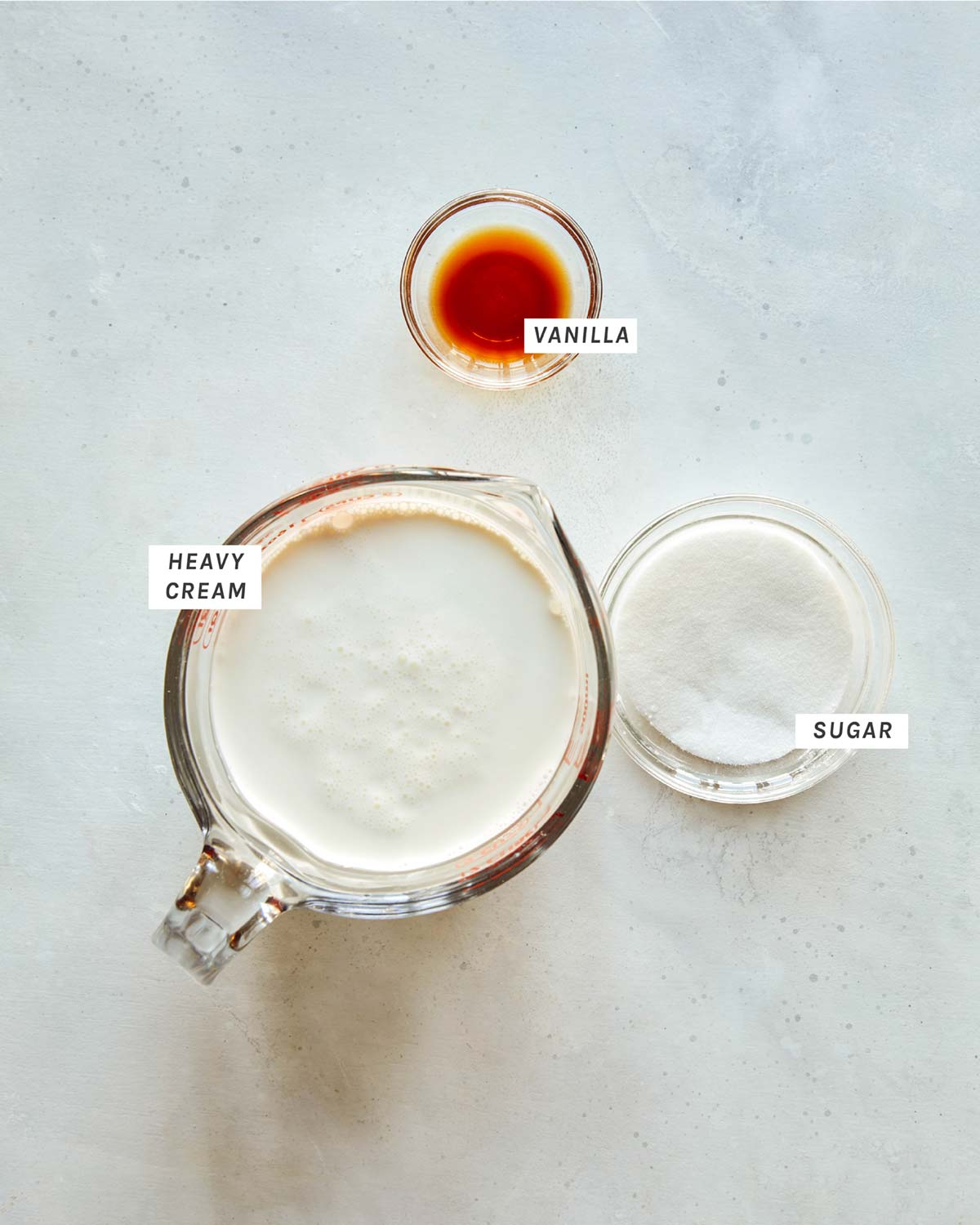Sweet cream ingredients all laid out on a kitchen counter.