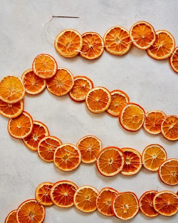 Dehydrated citrus strung on twine to make a garland.