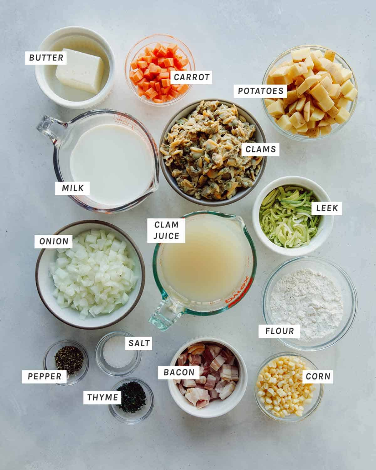 Clam Chowder recipe ingredients all laid out to make.