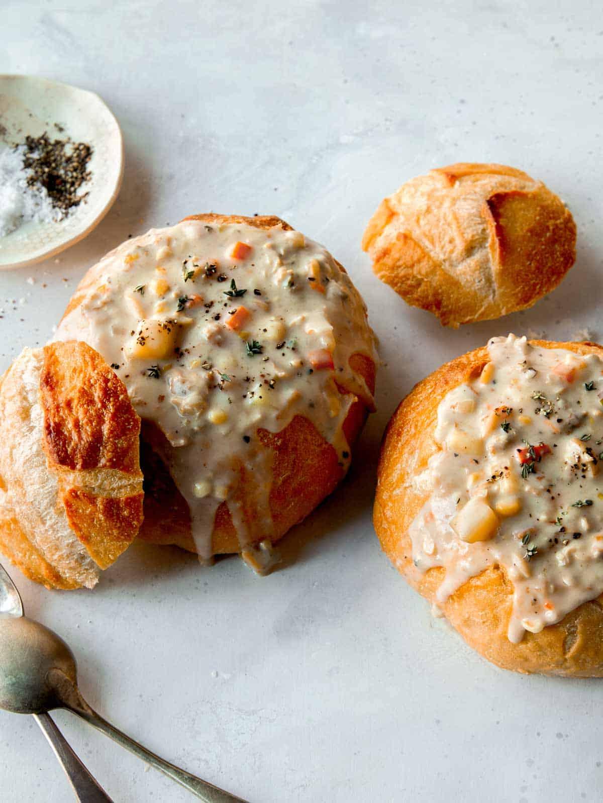 Clam chowder in bread bowls.