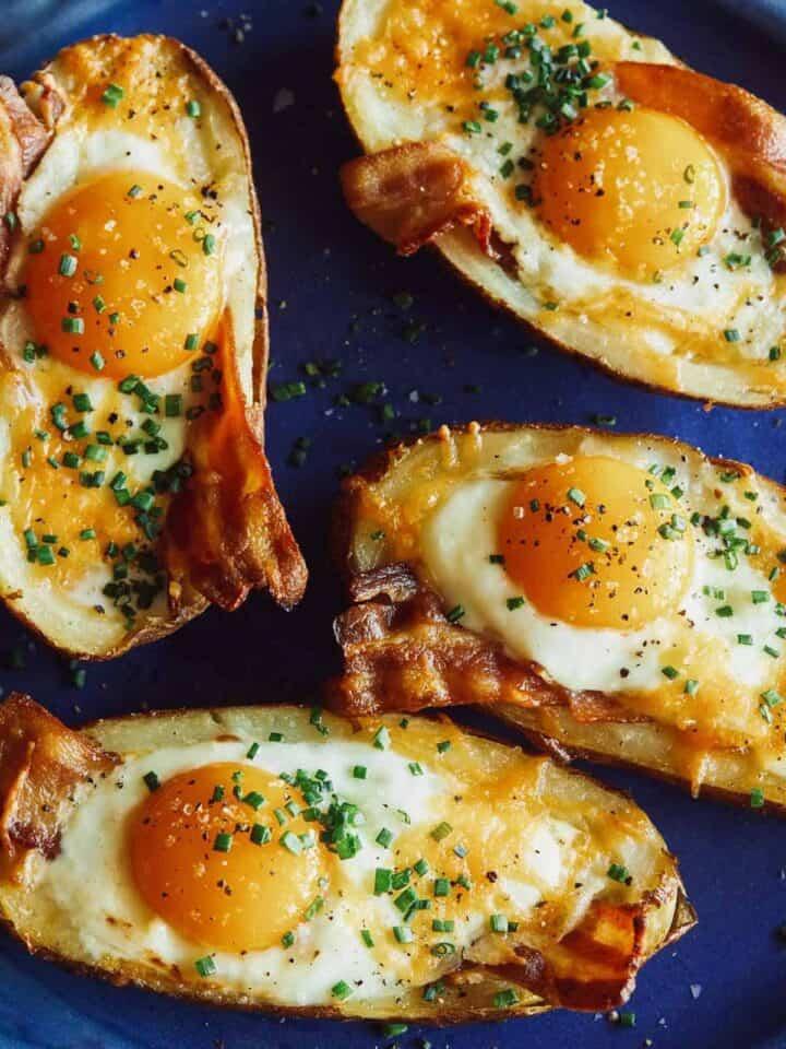 Twice baked breakfast potatoes on a platter.