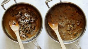 Beef stroganoff sauce being mixed with ingredients.