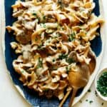 A recipe for Beef Stroganoff on a platter to be served.