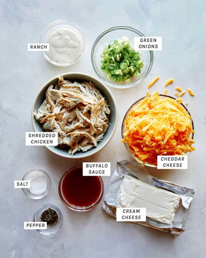 Buffalo Chicken Dip ingredients all laid out.