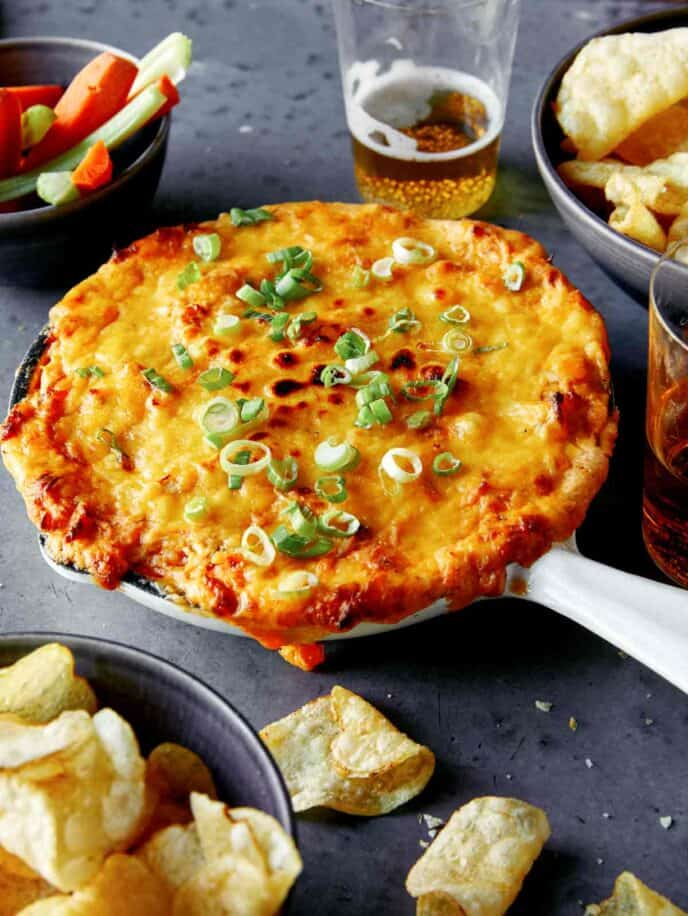 Buffalo Chicken Dip recipe ready to be served.