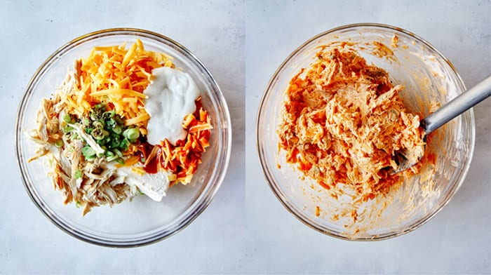 Buffalo Chicken Dip being mixed together.