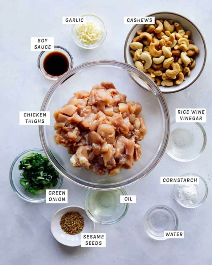 Ingredients to make Cashew Chicken all laid out.
