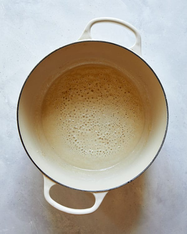 Butter and flour in a stock pot.
