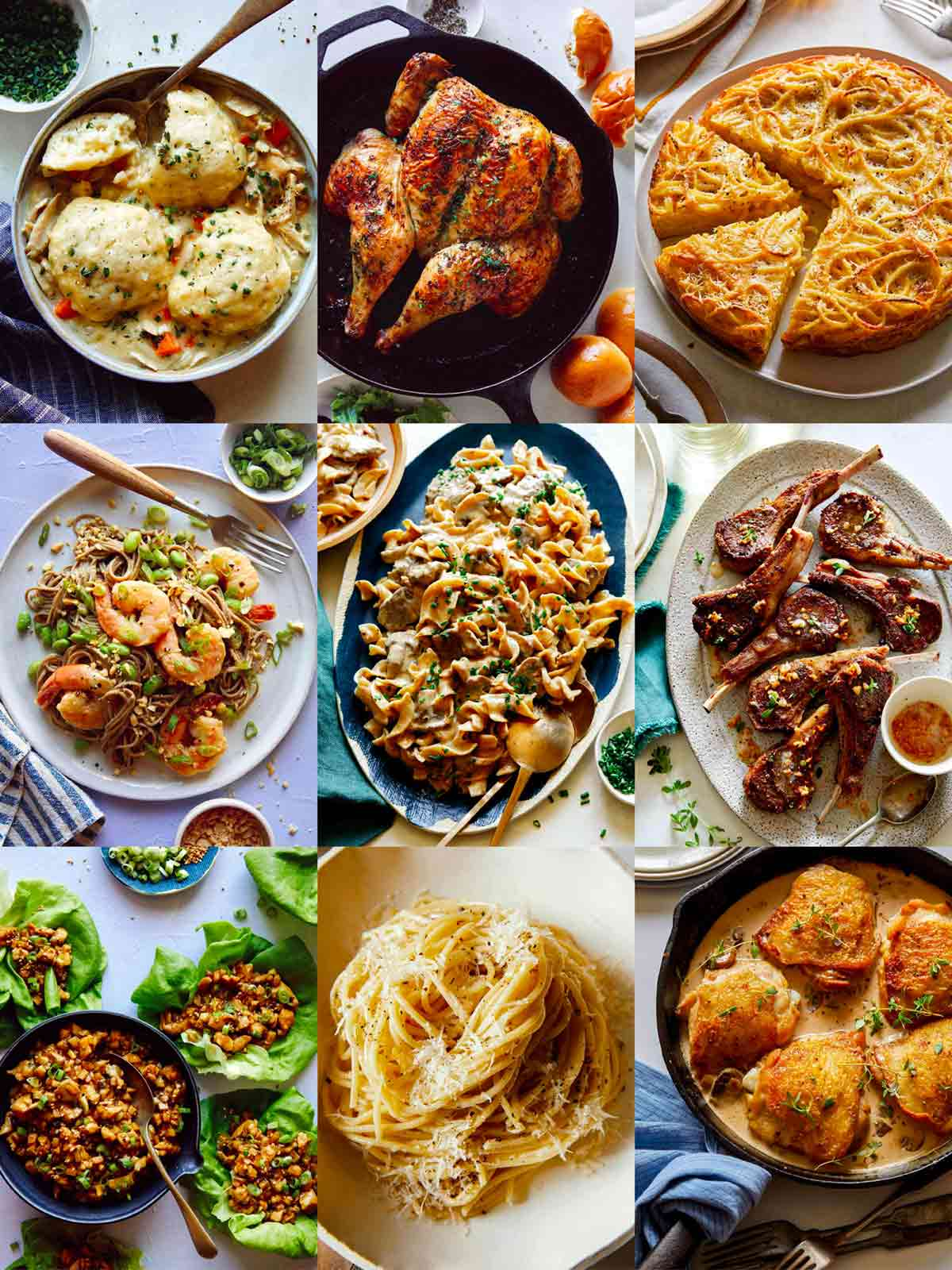 Our best easy dinner recipes collage.