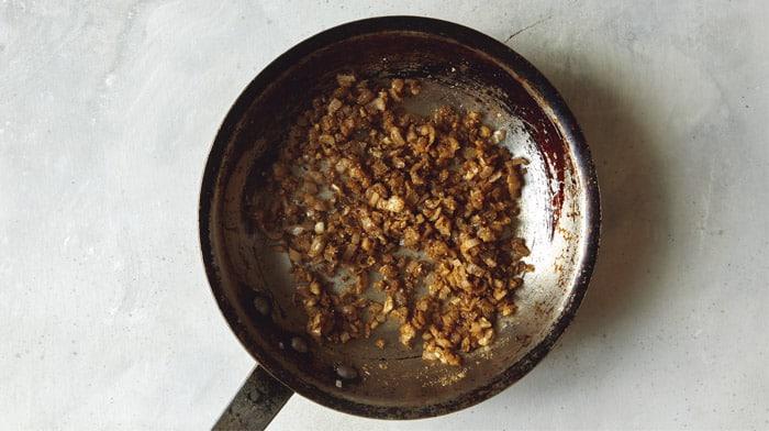 Seasoned onion and garlic for lamb kofta recipe.