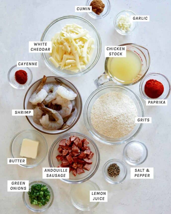 Ingredients for Shrimp and Grits in a kitchen.