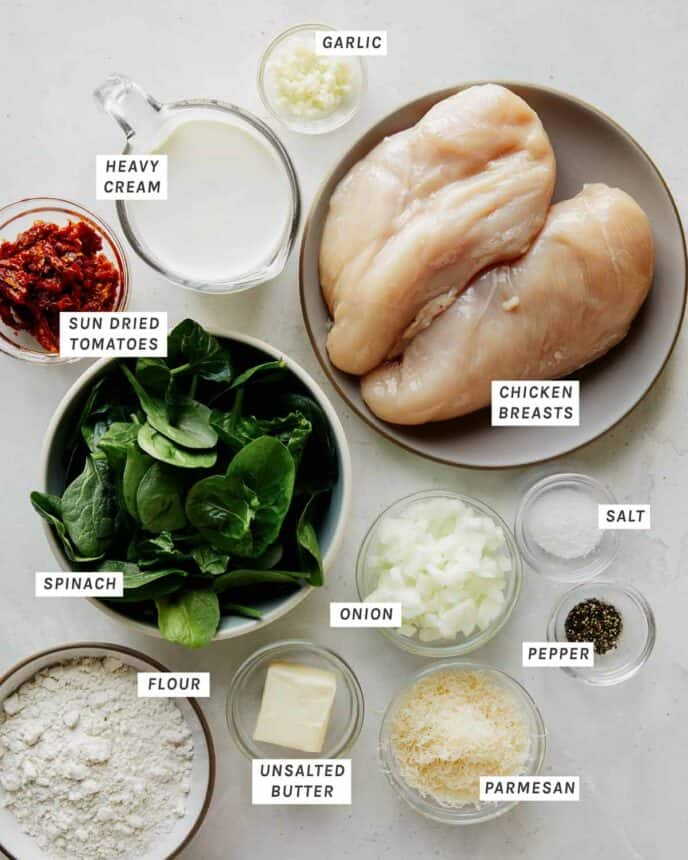 Ingredients to make Tuscan Chicken recipe.