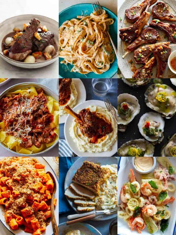 A collage of our best Valentine's dinner ideas.