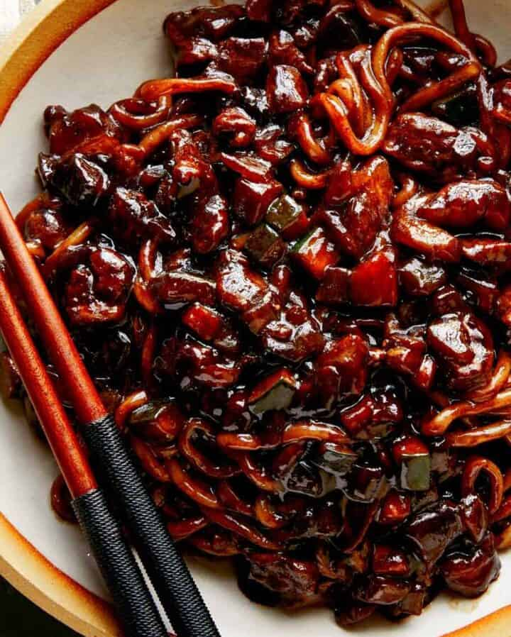 Jajangmyeon recipe in a bowl close up.