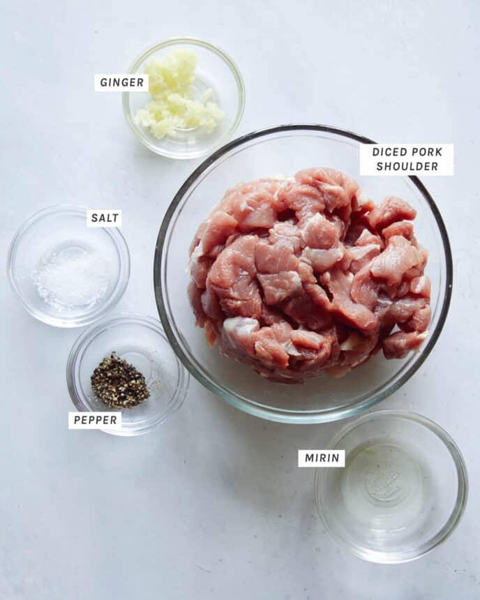 Pork marinade to make Jajangmyeon.
