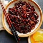 Jajangmyeon recipe in a bowl with chopsticks.