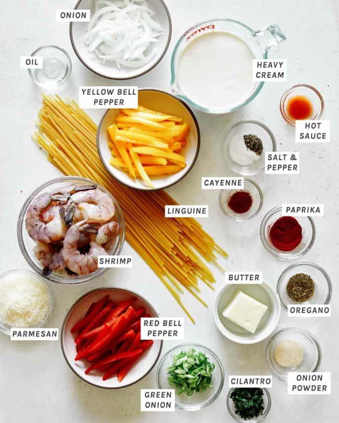 Cajun shrimp pasta recipe ingredients.