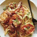 Cajun shrimp pasta recipe in a bowl.