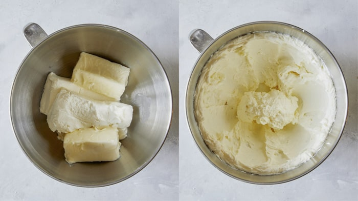 Ingredients for cream cheese frosting in a bowl.