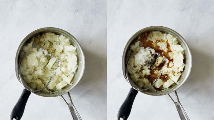Mashed potatoes in a pot for Colcannon recipe.