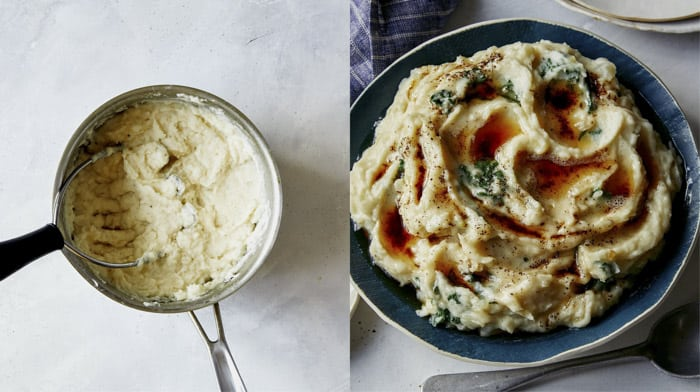 Colcannon in a big bowl with brown butter drizzled on it.