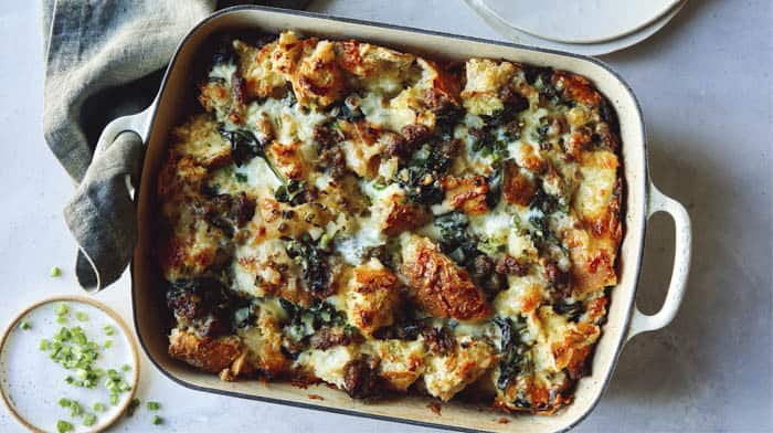 Baked sausage strata in a dish.