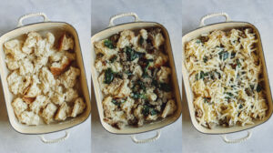 Process of layering the sausage strata recipe in a baking dish.